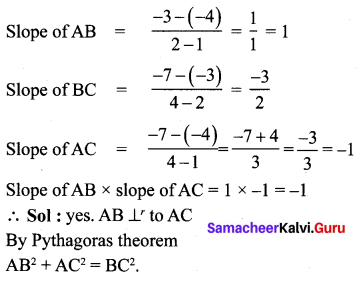 Samacheer 10th Maths Exercise 5.2 Solutions Chapter 5 Coordinate Geometry