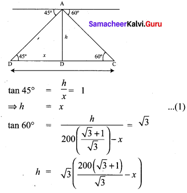 Samacheer Kalvi 10th Maths Chapter 6 Trigonometry Unit Exercise 6 15