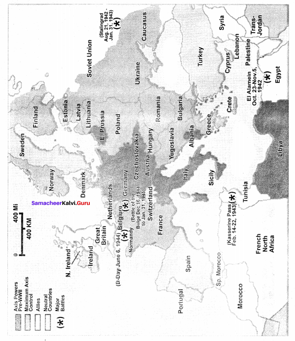 10th World Outline Map Social Science History Solutions Chapter 3 Samacheer Kalvi