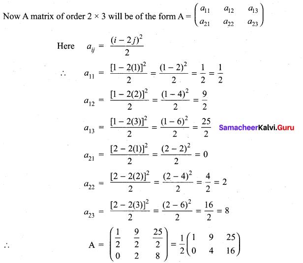 11th Maths Exercise 7.1 Samacheer Kalvi Chapter 7 Matrices And Determinants