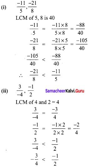 8th Maths Book Samacheer Kalvi Term 1 Chapter 1 Rational Numbers Ex 1.1