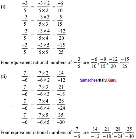 8th Maths Exercise 1.1 Samacheer Kalvi Term 1 Chapter 1 Rational Numbers