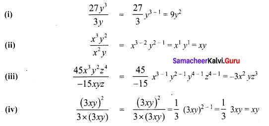 Samacheer Guru 8th Maths Solutions Term 1 Chapter 3 Algebra Ex 3.2