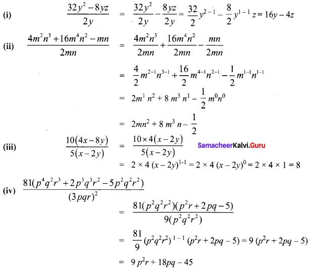 Class 8 Maths Chapter 3 Exercise 3.2 Solution Term 1 Algebra Samacheer Kalvi