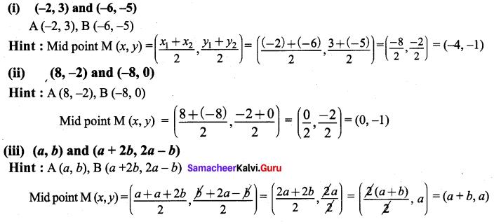 9th Maths Exercise 5.3 Solution Chapter 5 Coordinate Geometry Samacheer Kalvi