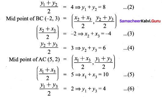 Coordinate Geometry Class 9 Exercise 5.3 Chapter 5 Samacheer Kalvi