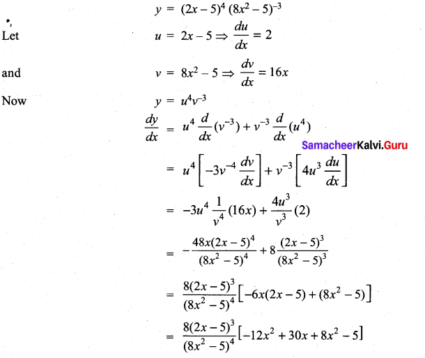 Samacheer Kalvi 11th Maths Solutions Chapter 10 Differentiability and Methods of Differentiation Ex 10.3 11