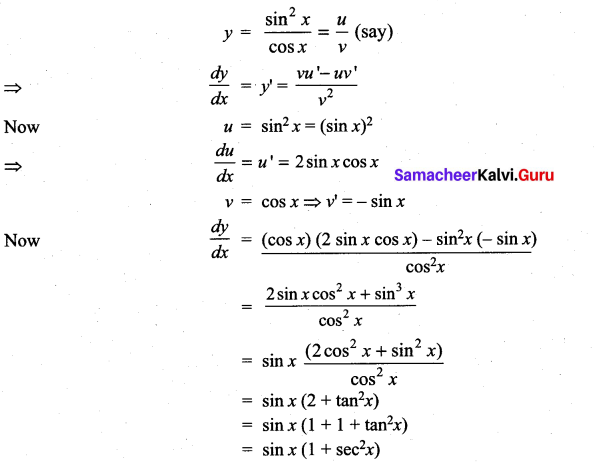 Samacheer Kalvi 11th Maths Solutions Chapter 10 Differentiability and Methods of Differentiation Ex 10.3 19