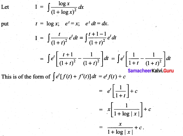 Samacheer Kalvi 11th Maths Solutions Chapter 11 Integral Calculus Ex 11.9 7