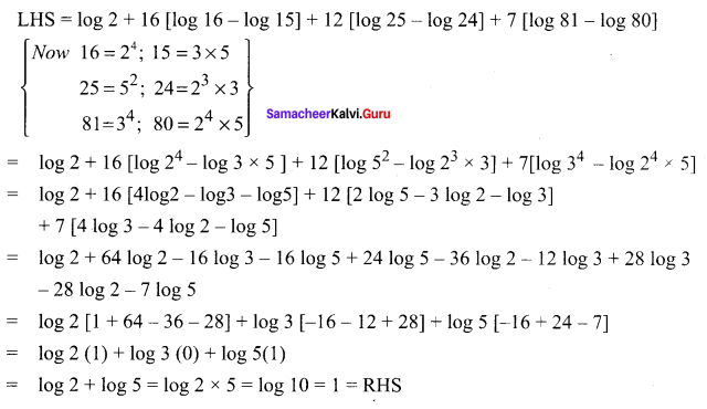 Samacheer Kalvi 11th Maths Solutions Chapter 2 Basic Algebra Ex 2.12 12