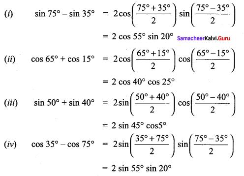 Samacheer Kalvi 11th Maths Solutions Chapter 3 Trigonometry Ex 3.6 4