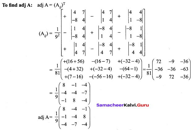 12th Maths Guide Samacheer Kalvi Chapter 1 Applications Of Matrices And Determinants Ex 1.1