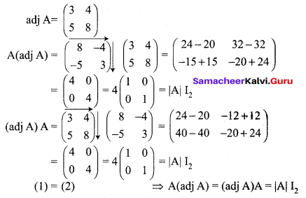 12th Maths Exercise 1.1 Solutions Samacheer Kalvi Chapter 1 Applications Of Matrices And Determinants
