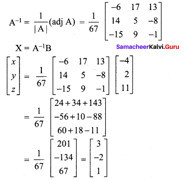 Samacheer Kalvi 12th Maths Solutions Chapter 1 Applications of Matrices and Determinants Ex 1.3 5
