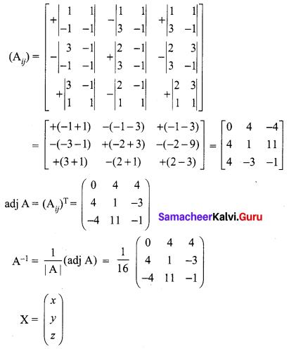 Samacheer Kalvi 12th Maths Solutions Chapter 1 Applications of Matrices and Determinants Ex 1.3 Q1.3