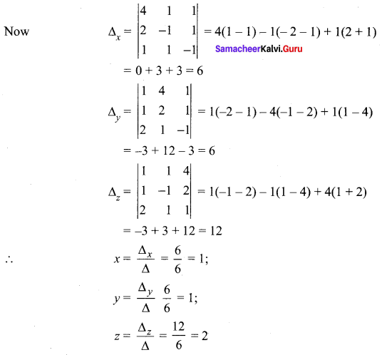 Samacheer Kalvi 12th Maths Solutions Chapter 1 Applications of Matrices and Determinants Ex 1.4 3