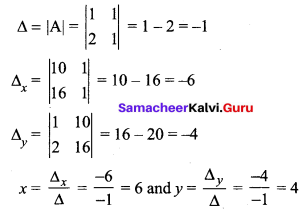 Samacheer Kalvi 12th Maths Solutions Chapter 1 Applications of Matrices and Determinants Ex 1.4 Q3.1