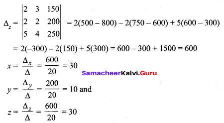 Samacheer Kalvi 12th Maths Solutions Chapter 1 Applications of Matrices and Determinants Ex 1.4 Q5.1
