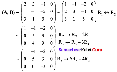 Samacheer Kalvi 12th Maths Solutions Chapter 1 Applications of Matrices and Determinants Ex 1.7 Q1.1