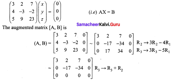 Samacheer Kalvi 12th Maths Solutions Chapter 1 Applications of Matrices and Determinants Ex 1.7 Q1