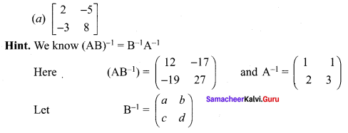 Samacheer Kalvi 12th Maths Solutions Chapter 1 Applications of Matrices and Determinants Ex 1.8 Q10.1