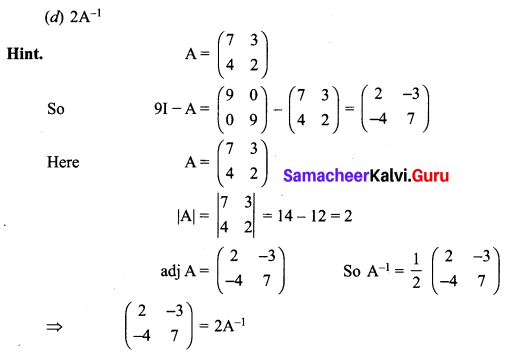 Samacheer Kalvi 12th Maths Solutions Chapter 1 Applications of Matrices and Determinants Ex 1.8 Q5.1