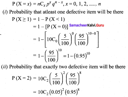 Samacheer Kalvi 12th Maths Solutions Chapter 11 Probability Distributions Ex 11.5 11