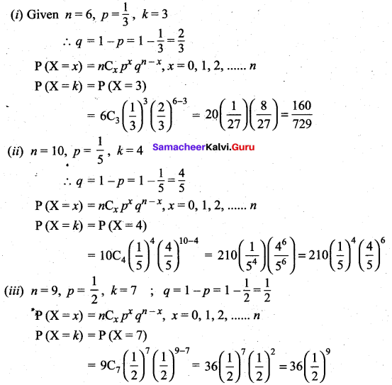 Samacheer Kalvi 12th Maths Solutions Chapter 11 Probability Distributions Ex 11.5 2