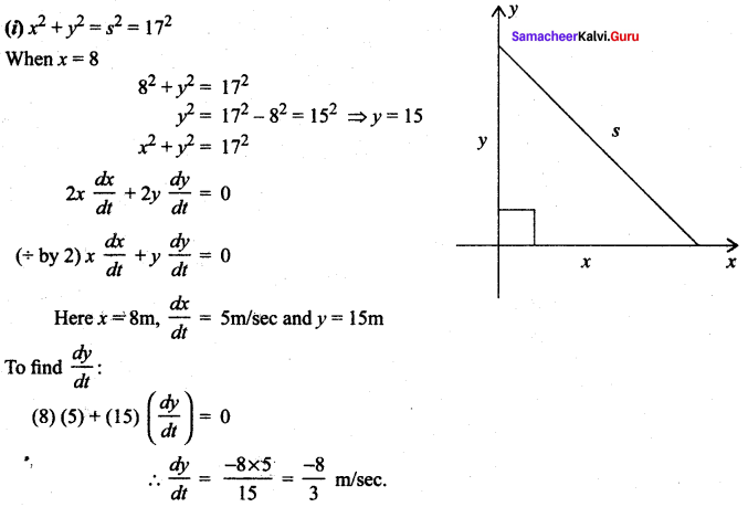 Samacheer Kalvi 12th Maths Guide Chapter 7 Applications Of Differential Calculus Ex 7.1