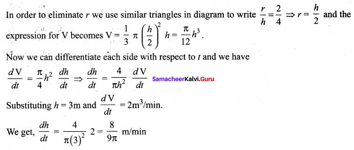 Samacheer Kalvi 12 Maths Guide Solutions Chapter 7 Applications Of Differential Calculus Ex 7.1