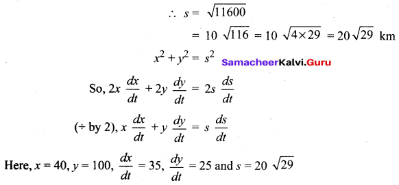 Samacheer Kalvi Class 12 Maths Solutions Chapter 7 Applications Of Differential Calculus Ex 7.1