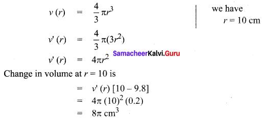 Samacheer Kalvi 12th Maths Solutions Chapter 8 Differentials and Partial Derivatives Ex 8.1 12