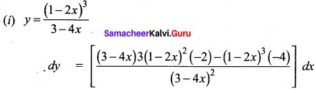 Samacheer Kalvi 12th Maths Solutions Chapter 8 Differentials and Partial Derivatives Ex 8.2 2