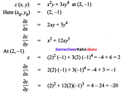 Samacheer Kalvi 12th Maths Solutions Chapter 8 Differentials and Partial Derivatives Ex 8.5 2