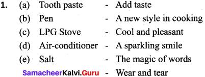 Samacheer Kalvi 9th English Matching Slogans with Products 1