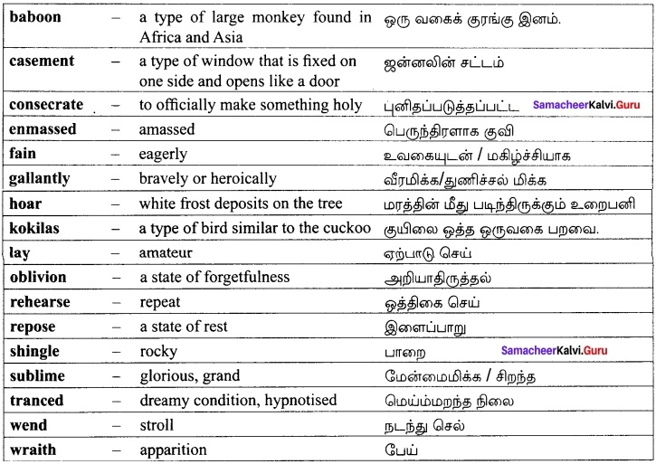 Our Casuarina Tree Book Back Answers Samacheer Kalvi 12th English Solutions Poem Chapter 2