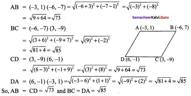 9th Class Maths Exercise 5.2 Solution Samacheer Kalvi Coordinate Geometry