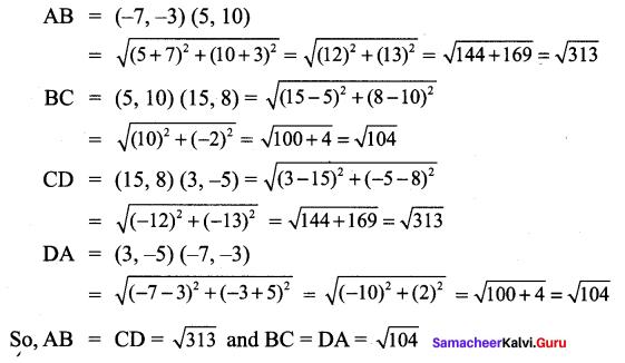 Class 9 Maths Exercise 5.2 Solution Samacheer Kalvi Chapter 5 Coordinate Geometry