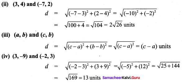 9th Maths Coordinate Geometry Exercise 5.2 Samacheer Kalvi