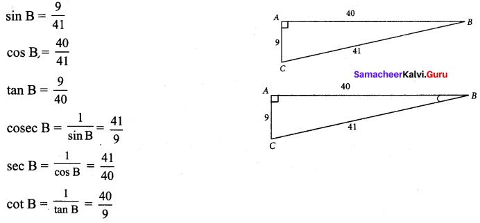9th Maths Trigonometry Exercise 6.1 Samacheer Kalvi Chapter 6