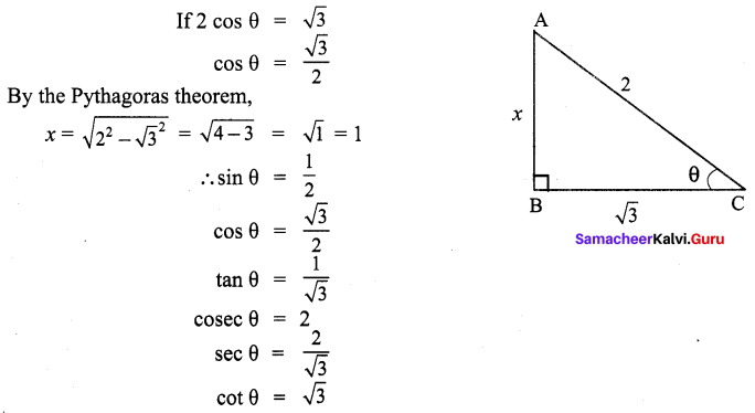 9th Std Maths Trigonometry Samacheer Kalvi Chapter 6 Ex 6.1
