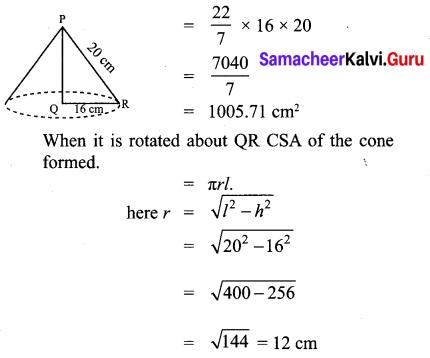 10th Maths Mensuration Exercise 7.1 Samacheer Kalvi Chapter 7