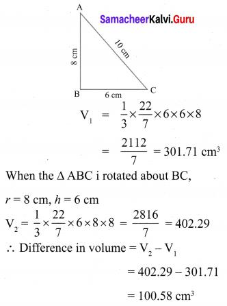 10th Maths 7.2 Exercise Samacheer Kalvi Solutions Chapter 7 Mensuration