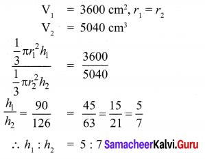 Samacheer Kalvi 10th Maths Mensuration Chapter 7 Ex 7.2