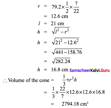 Samacheer Kalvi 10th Maths Chapter 7 Mensuration Unit Exercise 7 11
