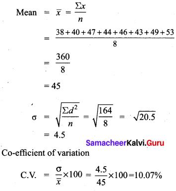 10th Maths 8.2 Solutions Samacheer Kalvi Chapter 8 Statistics And Probability