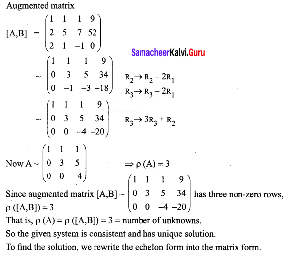 Samacheer Kalvi 12th Business Maths Solutions Chapter 1 Applications of Matrices and Determinants Ex 1.1 Q3.1