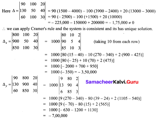 Samacheer Kalvi 12th Business Maths Solutions Chapter 1 Applications of Matrices and Determinants Miscellaneous Problems 9