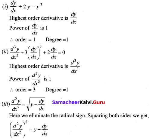 Samacheer Kalvi 12th Business Maths Solutions Chapter 4 Differential Equations Ex 4.1 Q1.1
