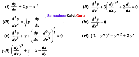 Samacheer Kalvi 12th Business Maths Solutions Chapter 4 Differential Equations Ex 4.1 Q1